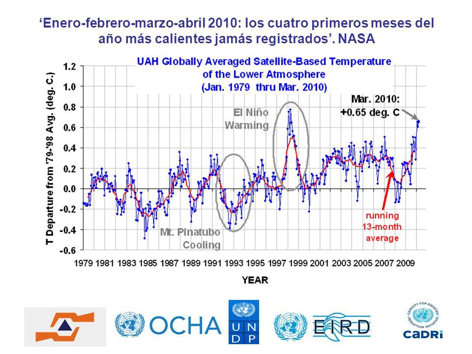 'Enero-febrero-marzo-abril 2010: los cuatro primeros meses del año más calientes jamás registrados'.