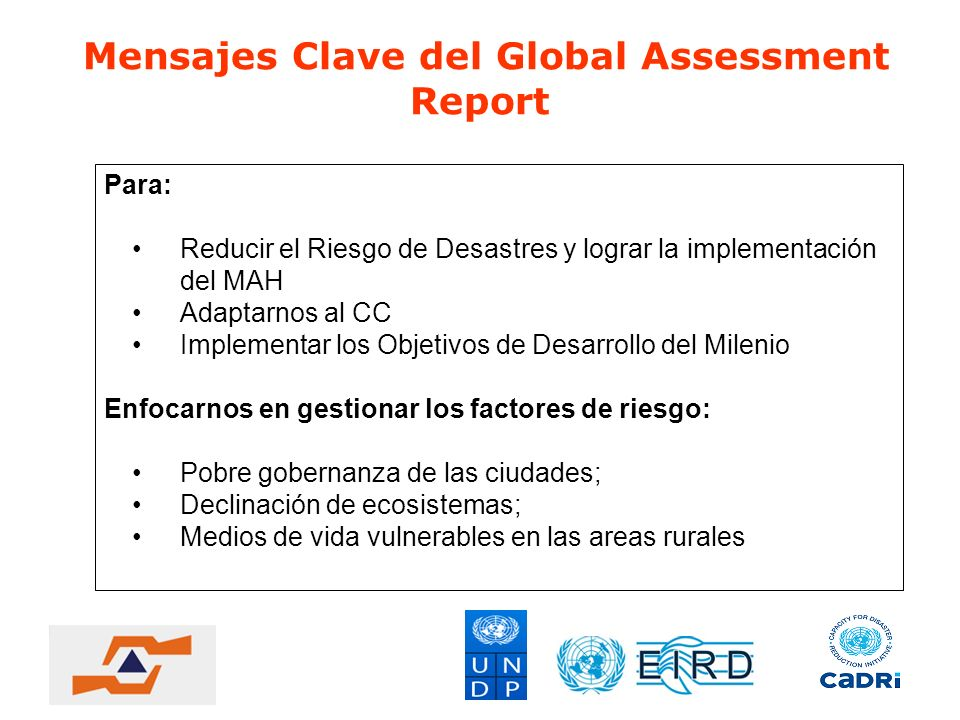 Mensajes Clave del Global Assessment Report