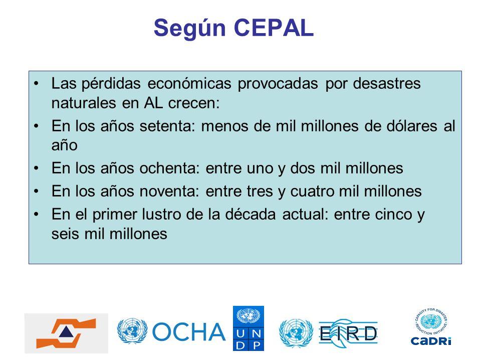 Según CEPAL Las pérdidas económicas provocadas por desastres naturales en AL crecen: En los años setenta: menos de mil millones de dólares al año.