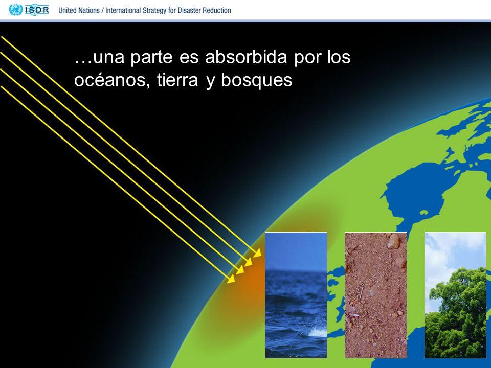 …una parte es absorbida por los océanos, tierra y bosques