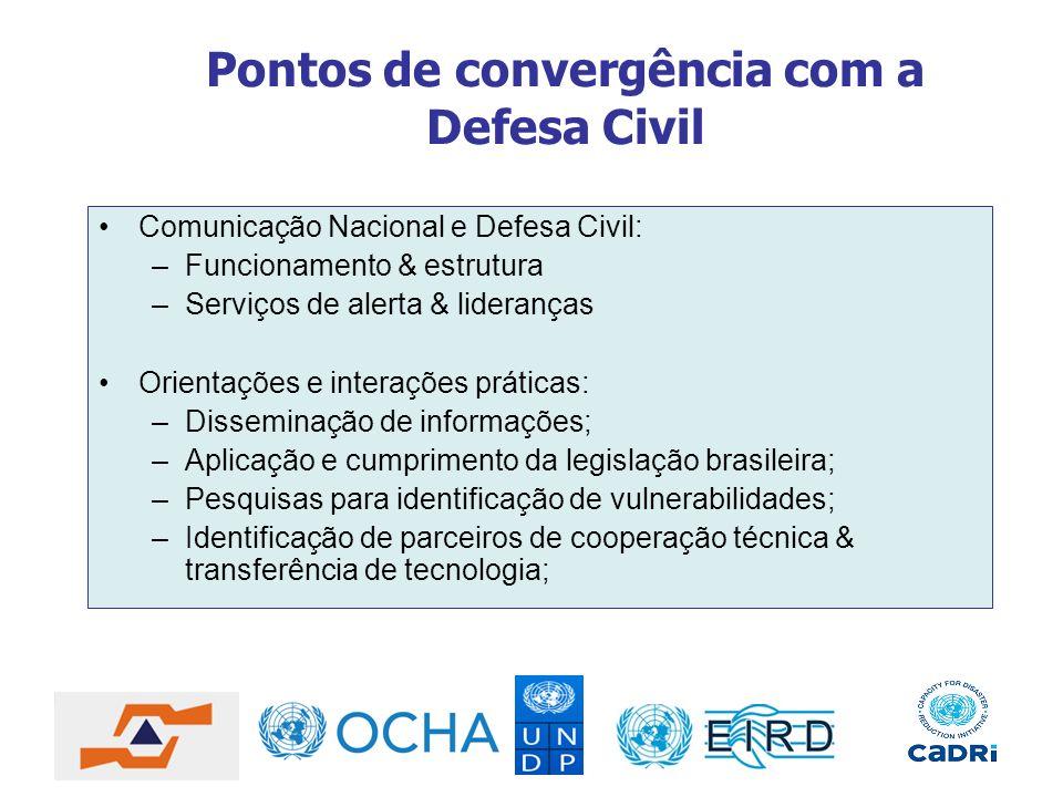 Pontos de convergência com a Defesa Civil