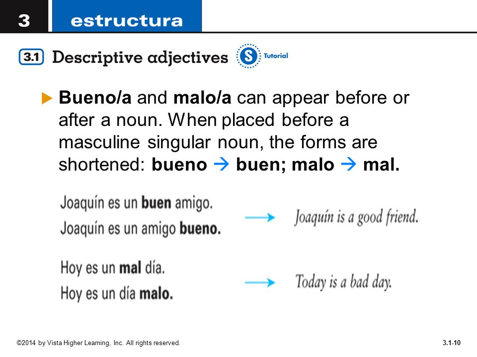 Bueno/a and malo/a can appear before or after a noun
