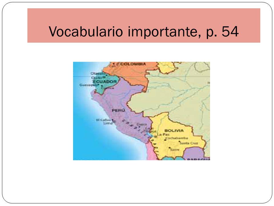 Vocabulario importante, p. 54
