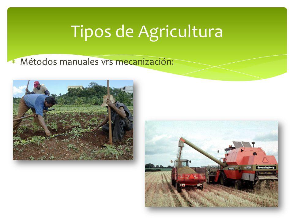 Tipos de Agricultura Métodos manuales vrs mecanización: