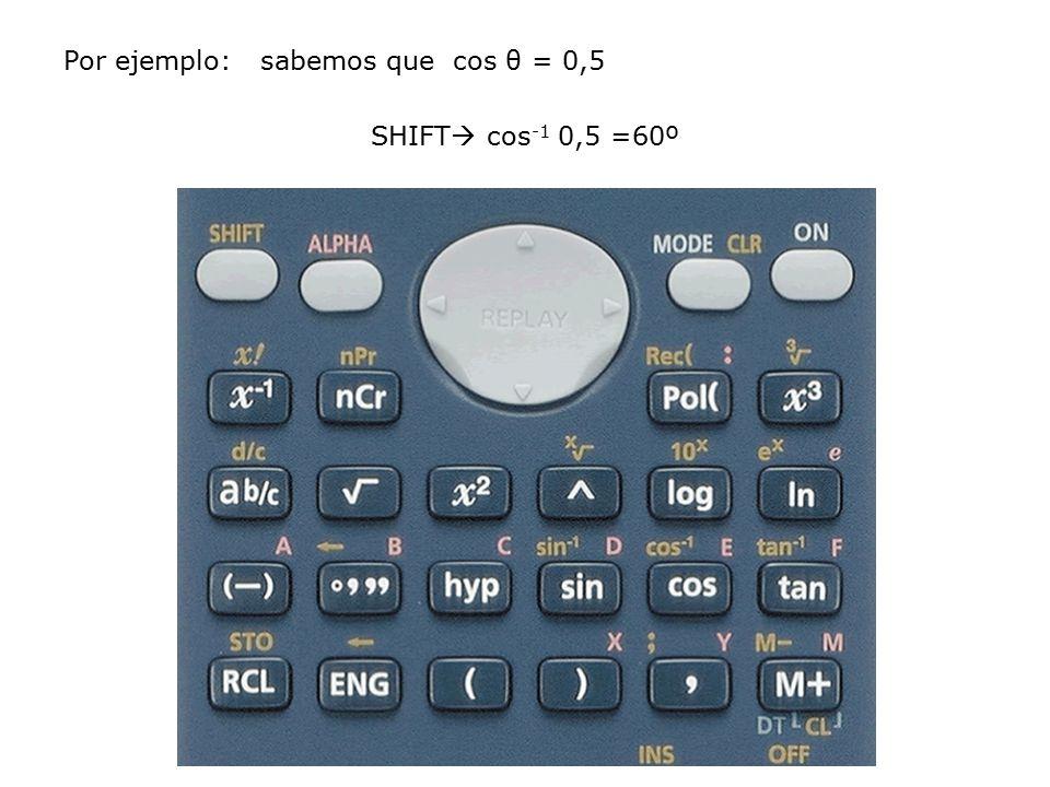 Por ejemplo: sabemos que cos θ = 0,5 SHIFT cos-1 0,5 =60º