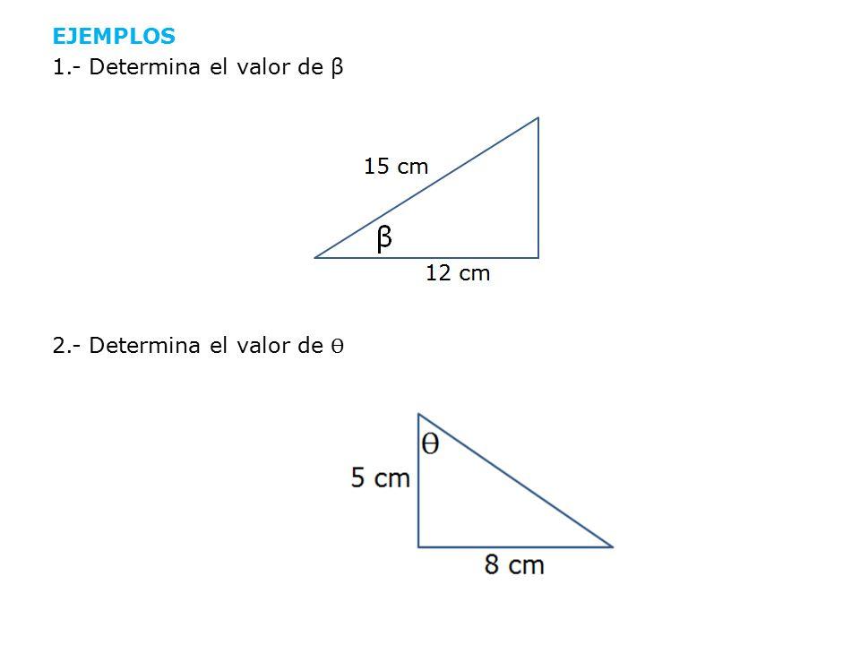 EJEMPLOS 1.- Determina el valor de β 2.- Determina el valor de Ѳ