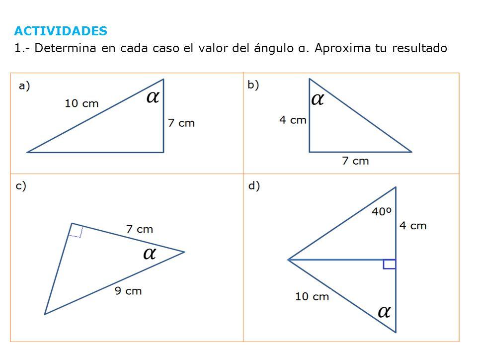 ACTIVIDADES 1. - Determina en cada caso el valor del ángulo α