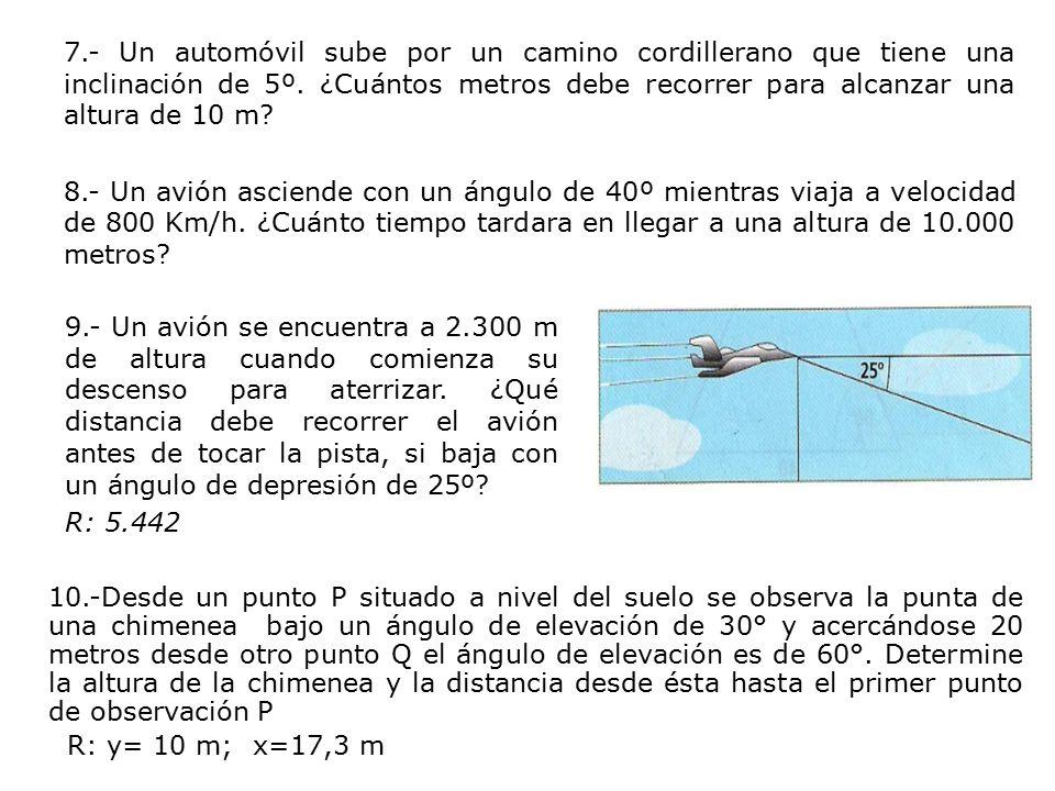 7.- Un automóvil sube por un camino cordillerano que tiene una inclinación de 5º. ¿Cuántos metros debe recorrer para alcanzar una altura de 10 m 8.- Un avión asciende con un ángulo de 40º mientras viaja a velocidad de 800 Km/h. ¿Cuánto tiempo tardara en llegar a una altura de 10.000 metros