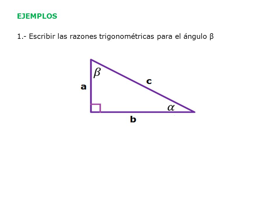 EJEMPLOS 1.- Escribir las razones trigonométricas para el ángulo β