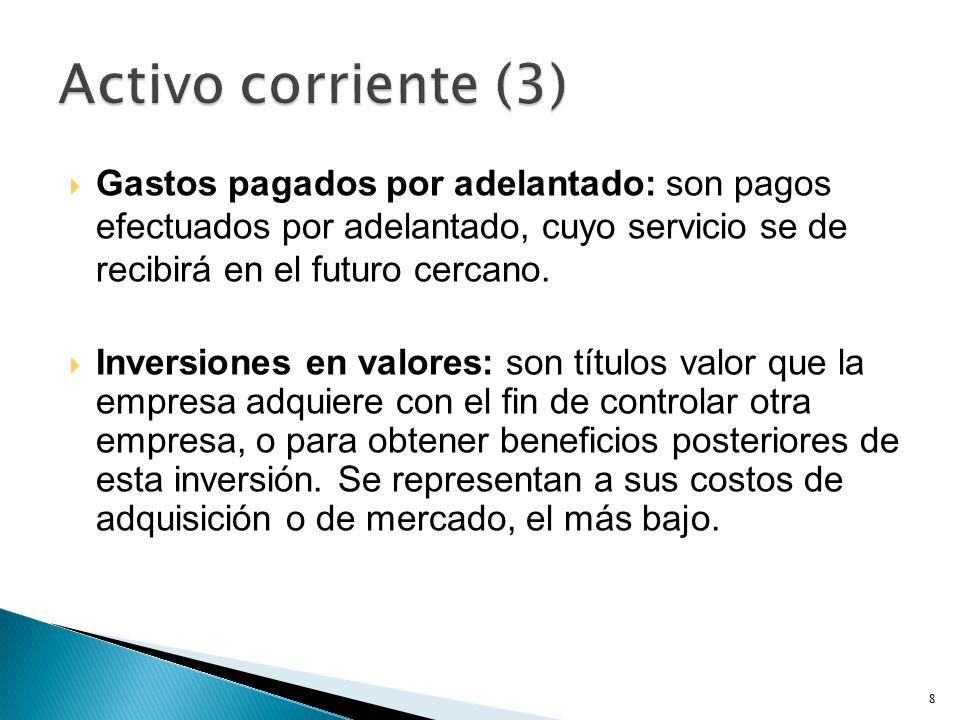 Activo corriente (3) Gastos pagados por adelantado: son pagos efectuados por adelantado, cuyo servicio se de recibirá en el futuro cercano.