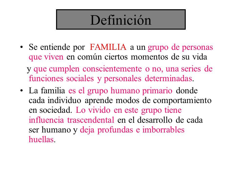 Definición Se entiende por FAMILIA a un grupo de personas