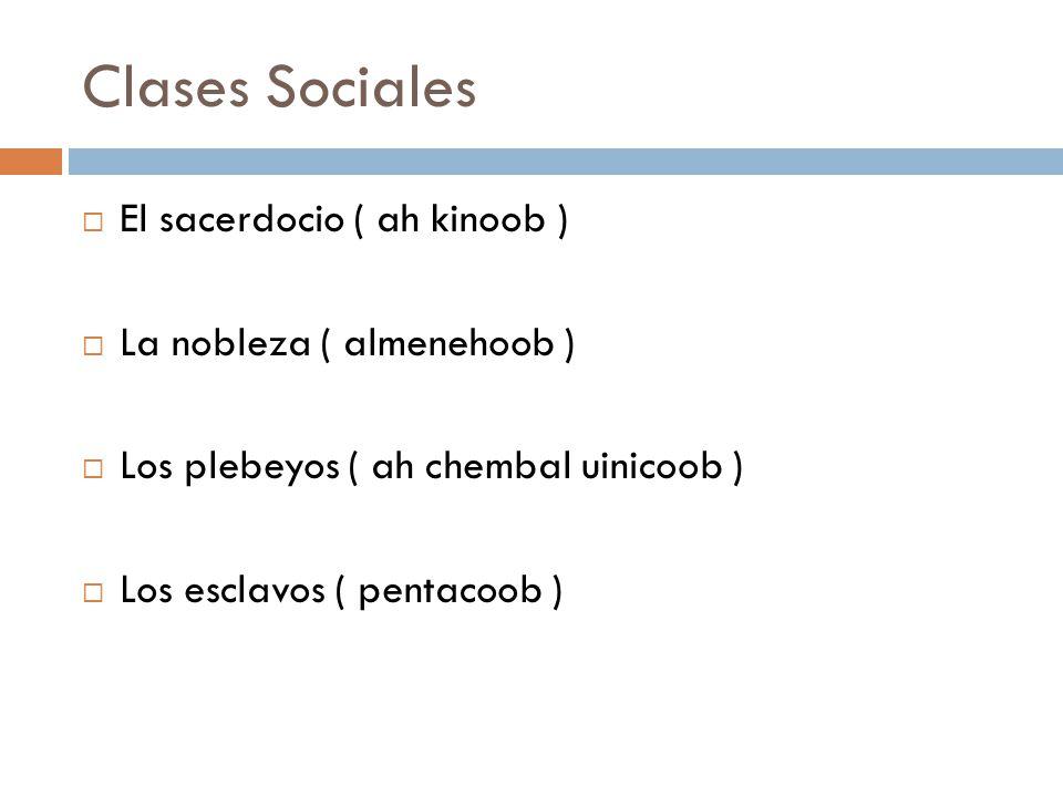 Clases Sociales El sacerdocio ( ah kinoob ) La nobleza ( almenehoob )