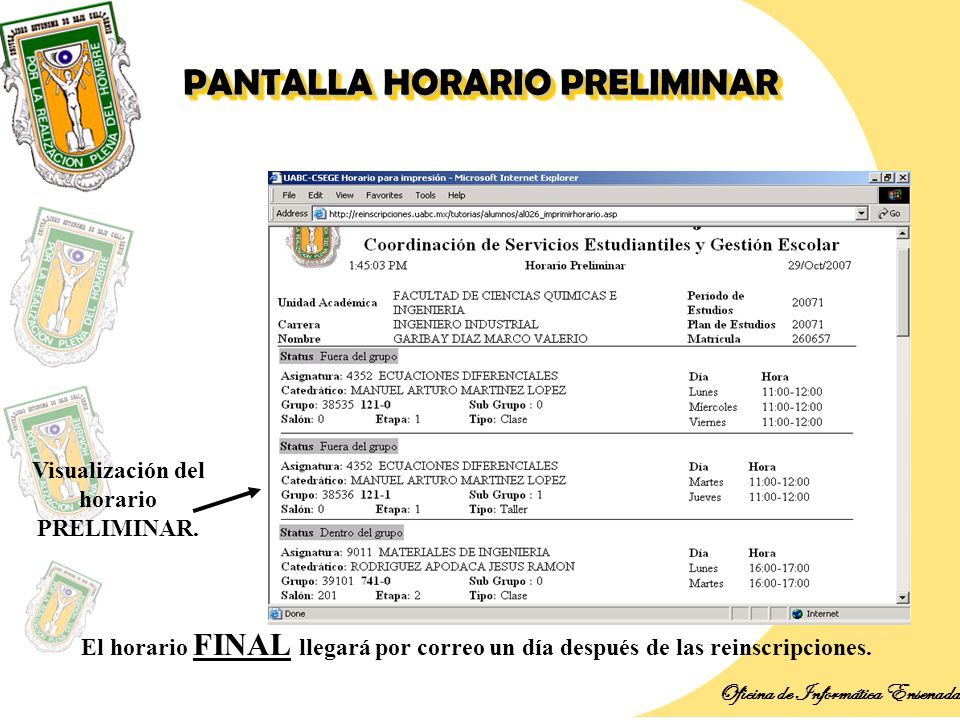Introducci n oficina de inform tica ensenada ppt descargar for Oficinas de correos horario