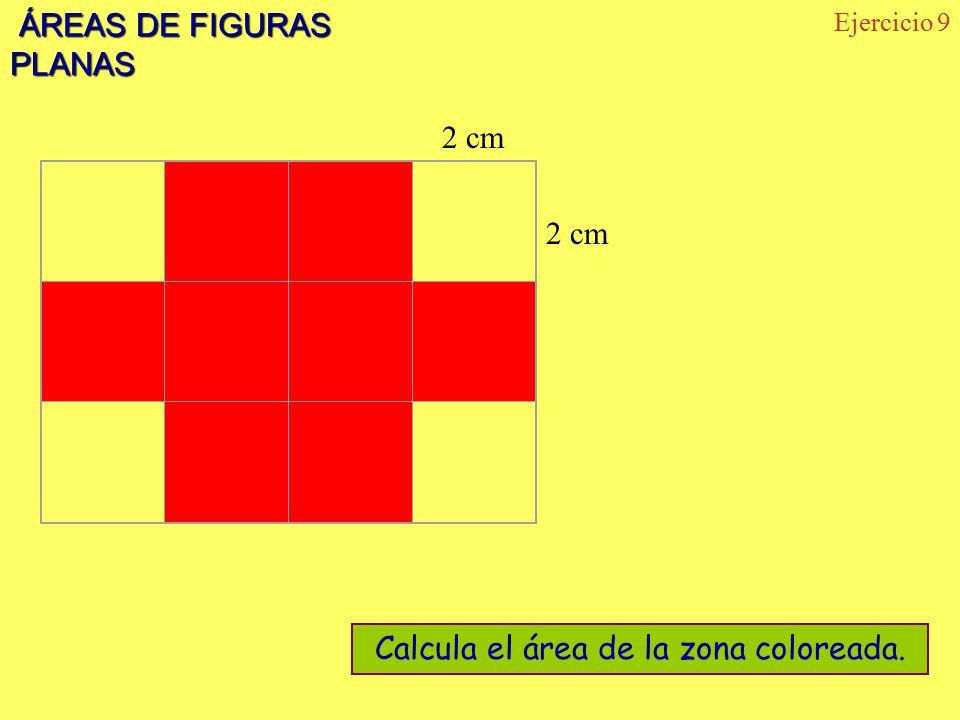 Calcula el área de la zona coloreada.