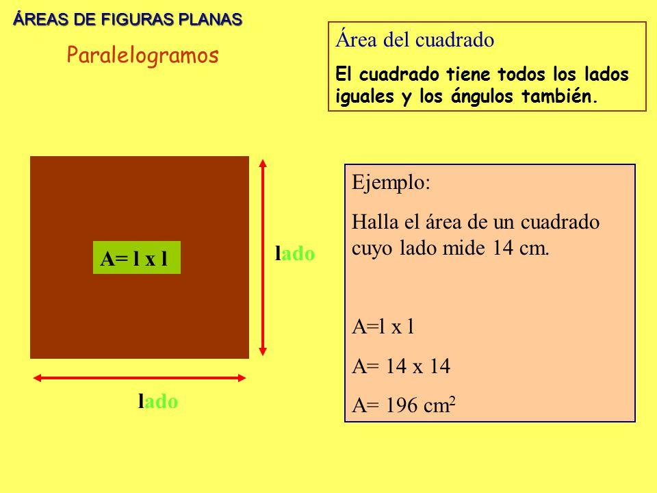 ÁREAS DE FIGURAS PLANAS Área del cuadrado Paralelogramos