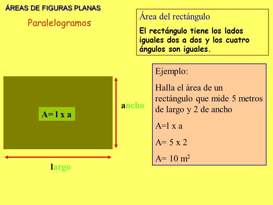 ÁREAS DE FIGURAS PLANAS Área del rectángulo Paralelogramos