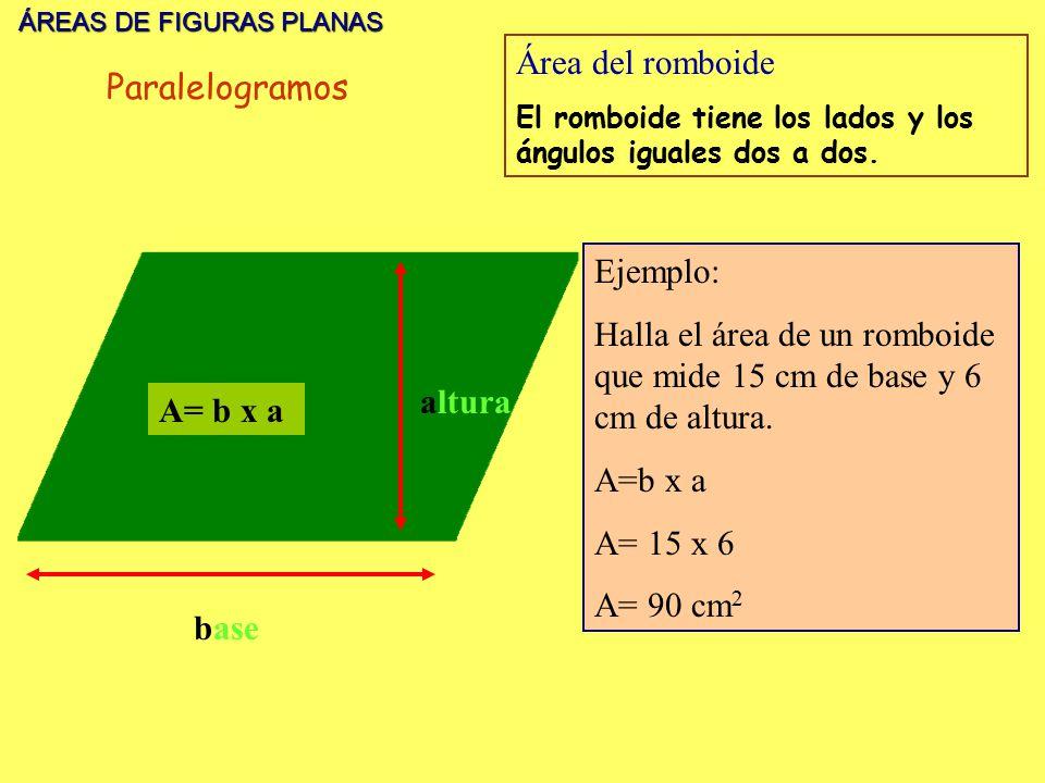 Halla el área de un romboide que mide 15 cm de base y 6 cm de altura.