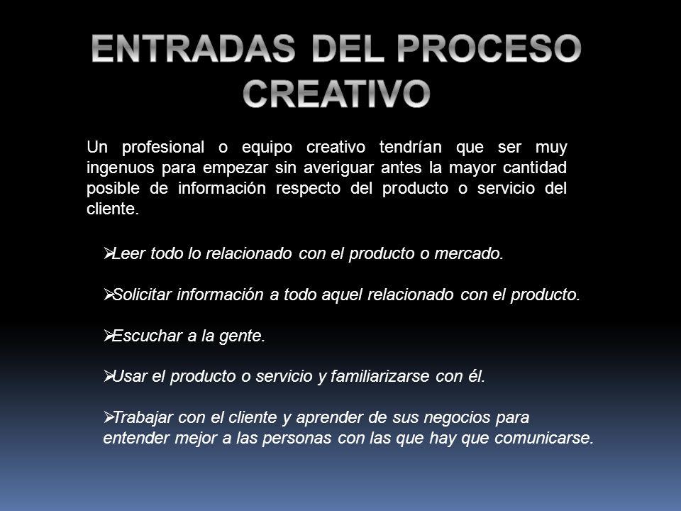 ENTRADAS DEL PROCESO CREATIVO