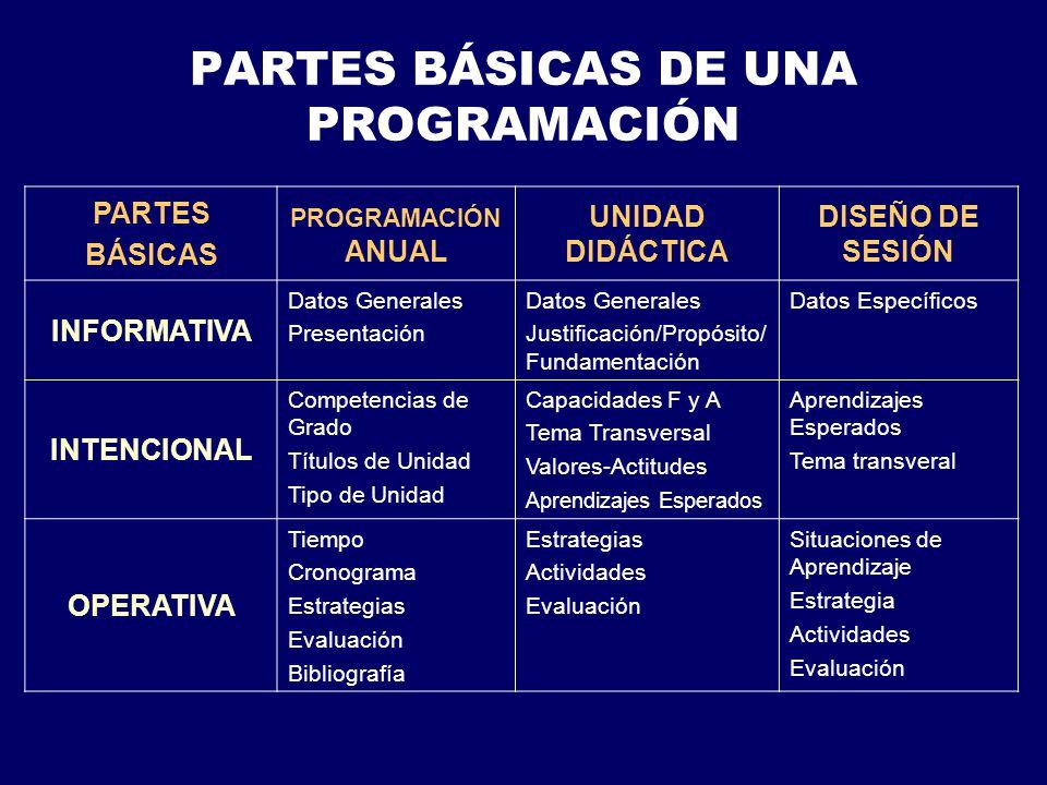 PARTES BÁSICAS DE UNA PROGRAMACIÓN
