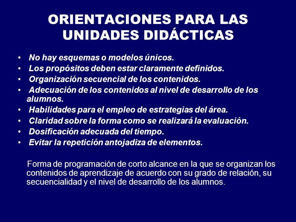 ORIENTACIONES PARA LAS UNIDADES DIDÁCTICAS