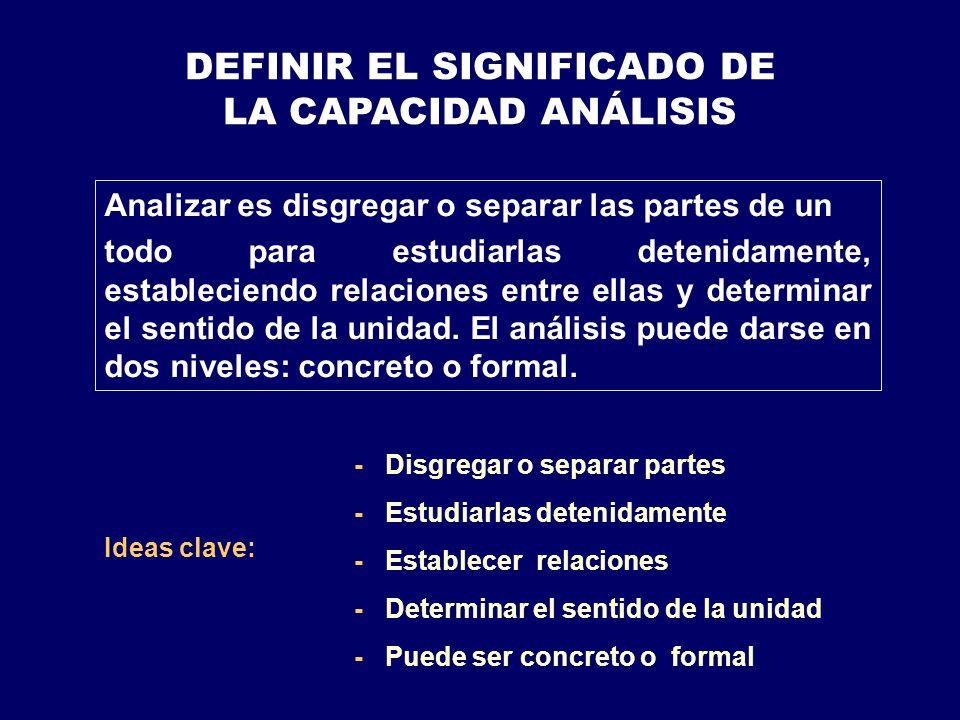 DEFINIR EL SIGNIFICADO DE LA CAPACIDAD ANÁLISIS