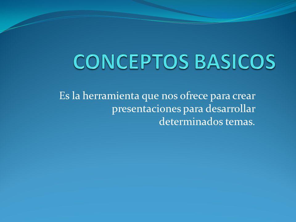 CONCEPTOS BASICOS Es la herramienta que nos ofrece para crear presentaciones para desarrollar determinados temas.