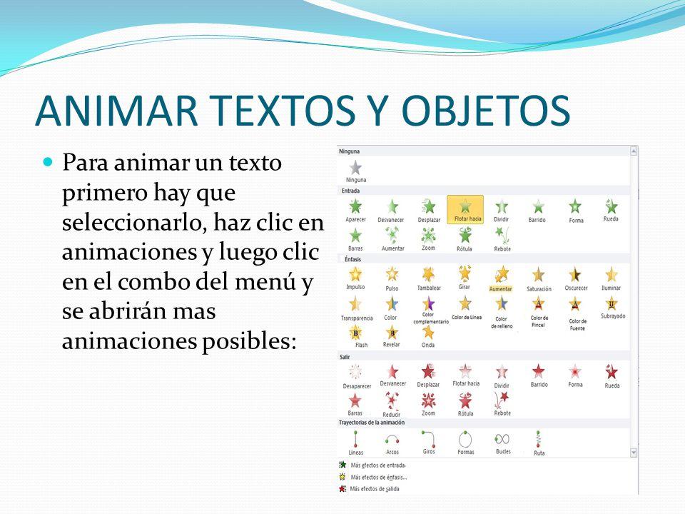 ANIMAR TEXTOS Y OBJETOS