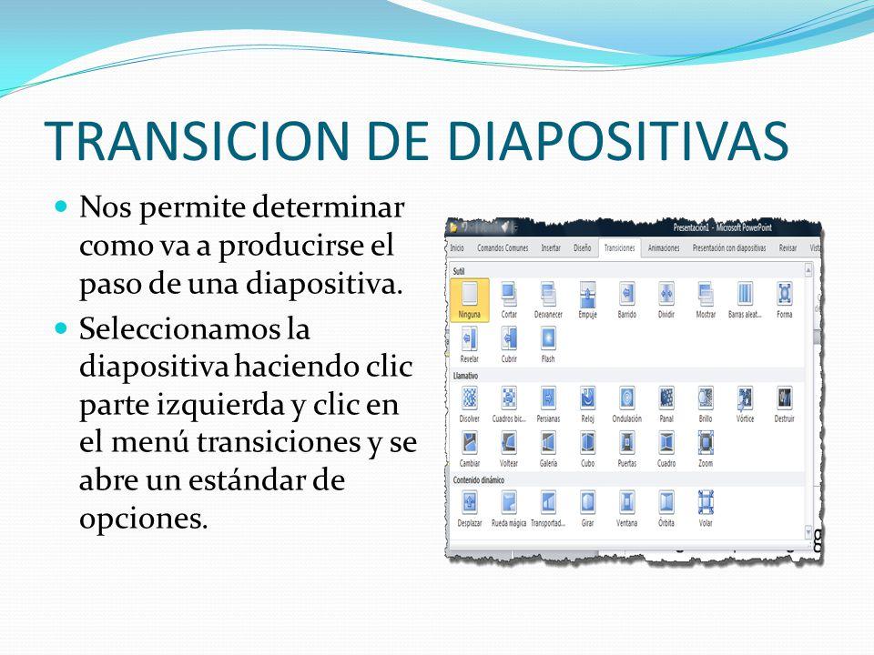 TRANSICION DE DIAPOSITIVAS