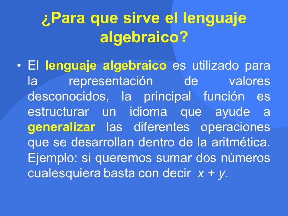 ¿Para que sirve el lenguaje algebraico