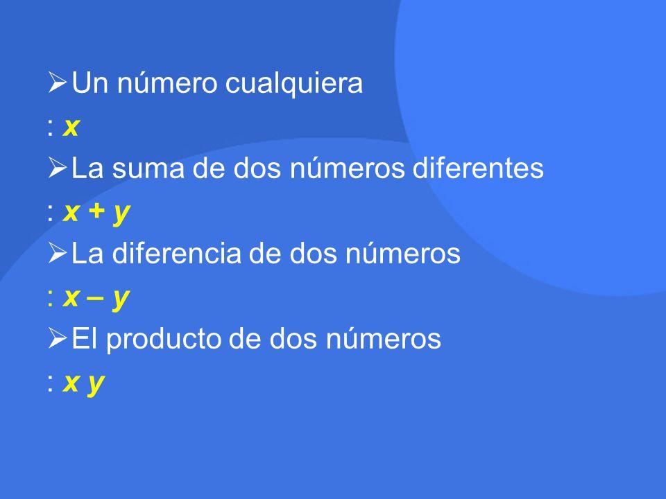 Un número cualquiera : x. La suma de dos números diferentes. : x + y. La diferencia de dos números.
