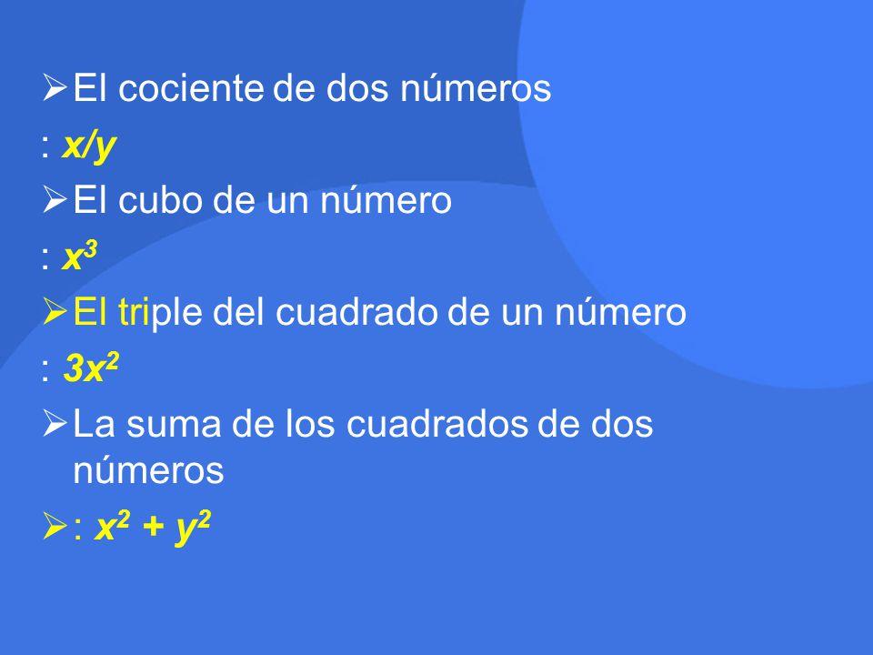 El cociente de dos números