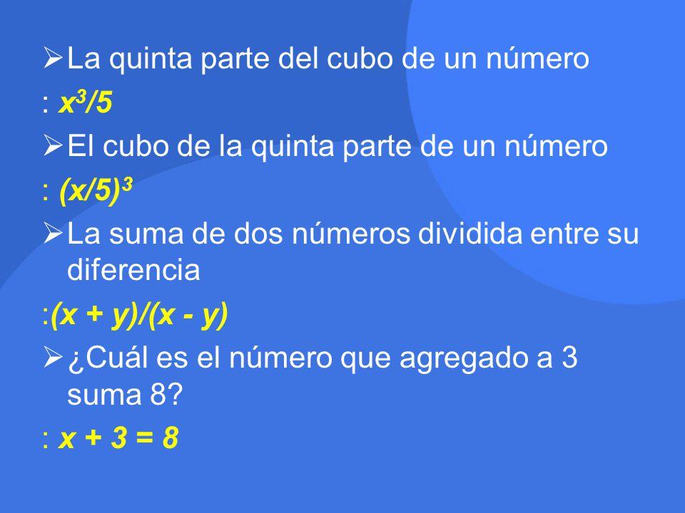 La quinta parte del cubo de un número