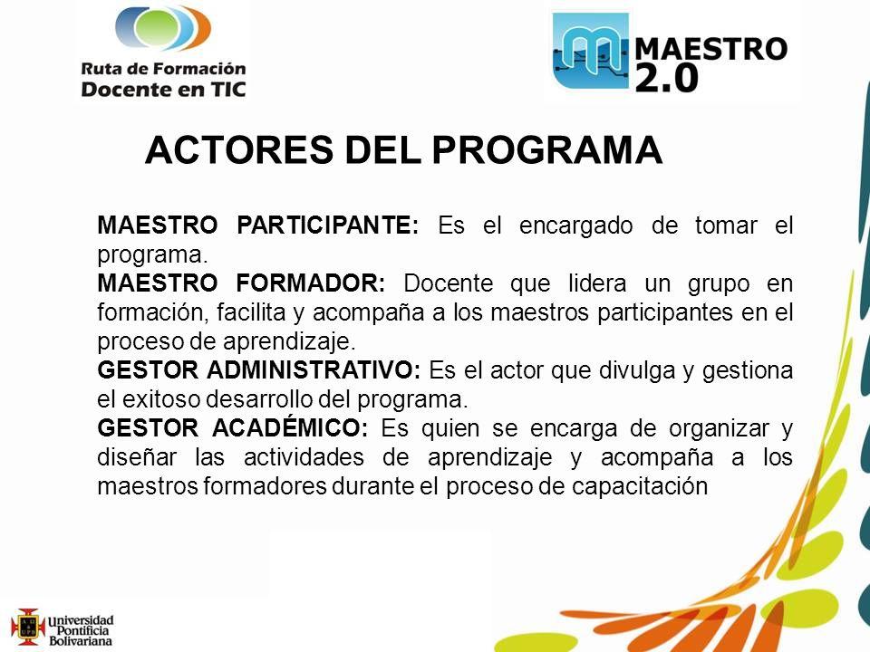 ACTORES DEL PROGRAMA MAESTRO PARTICIPANTE: Es el encargado de tomar el programa.