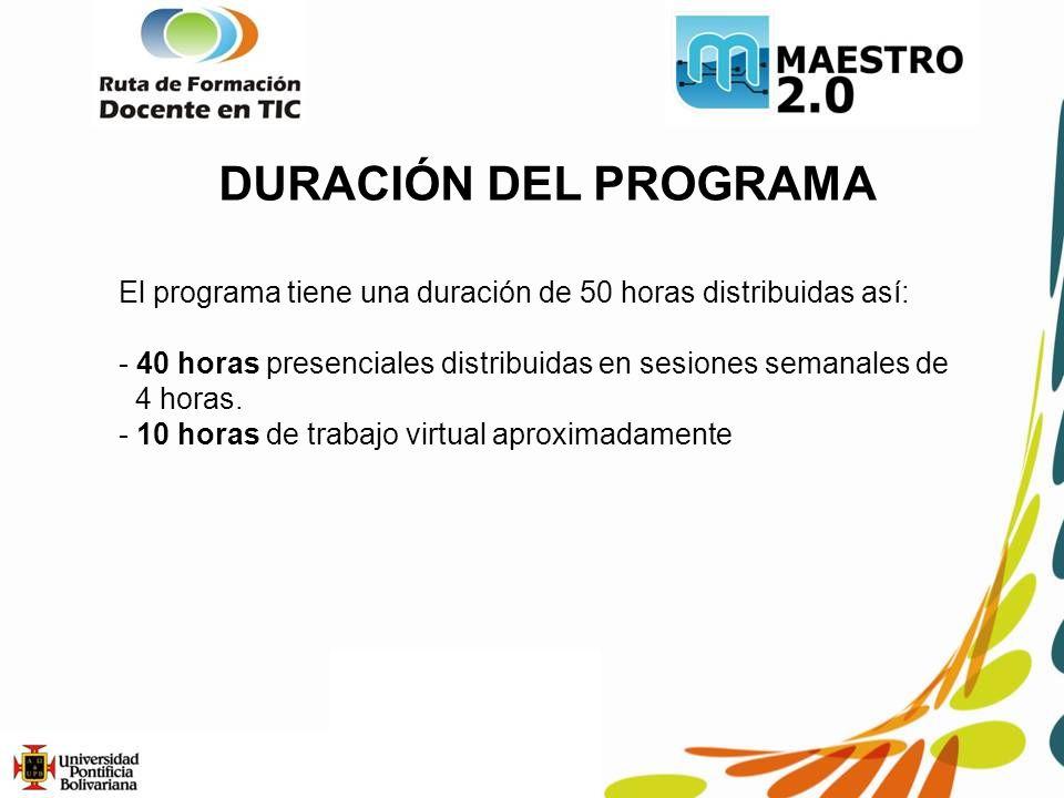 DURACIÓN DEL PROGRAMA El programa tiene una duración de 50 horas distribuidas así: 40 horas presenciales distribuidas en sesiones semanales de.
