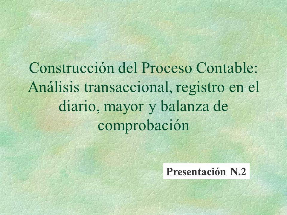 Construcción del Proceso Contable: Análisis transaccional, registro en el diario, mayor y balanza de comprobación