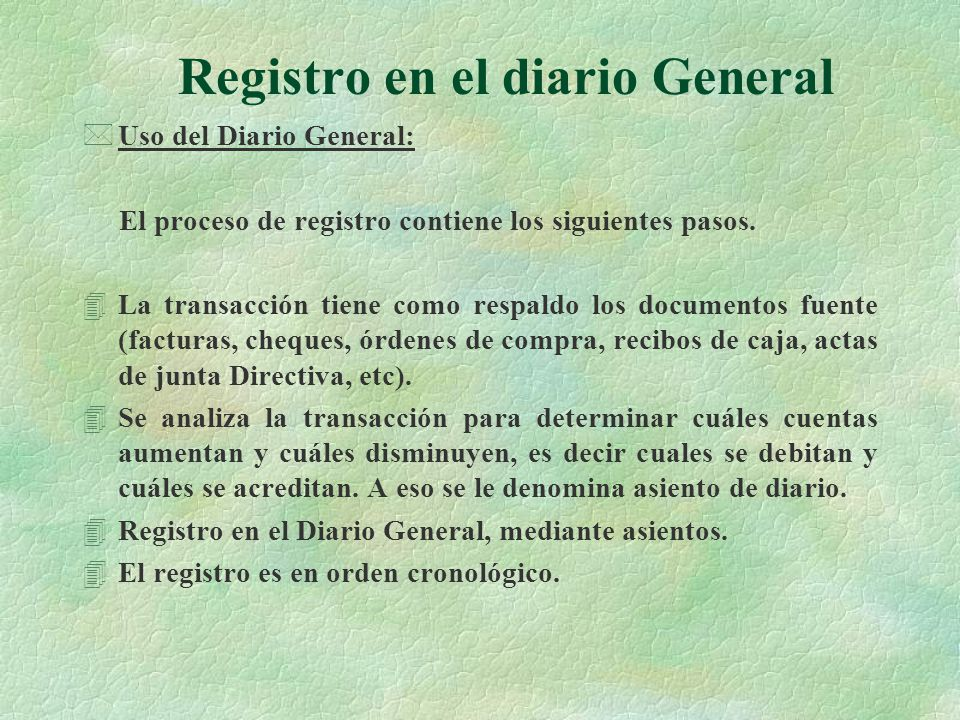 Registro en el diario General