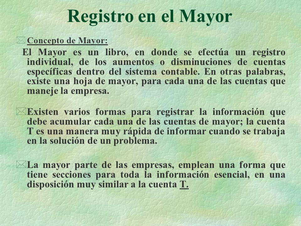 Registro en el Mayor Concepto de Mayor: