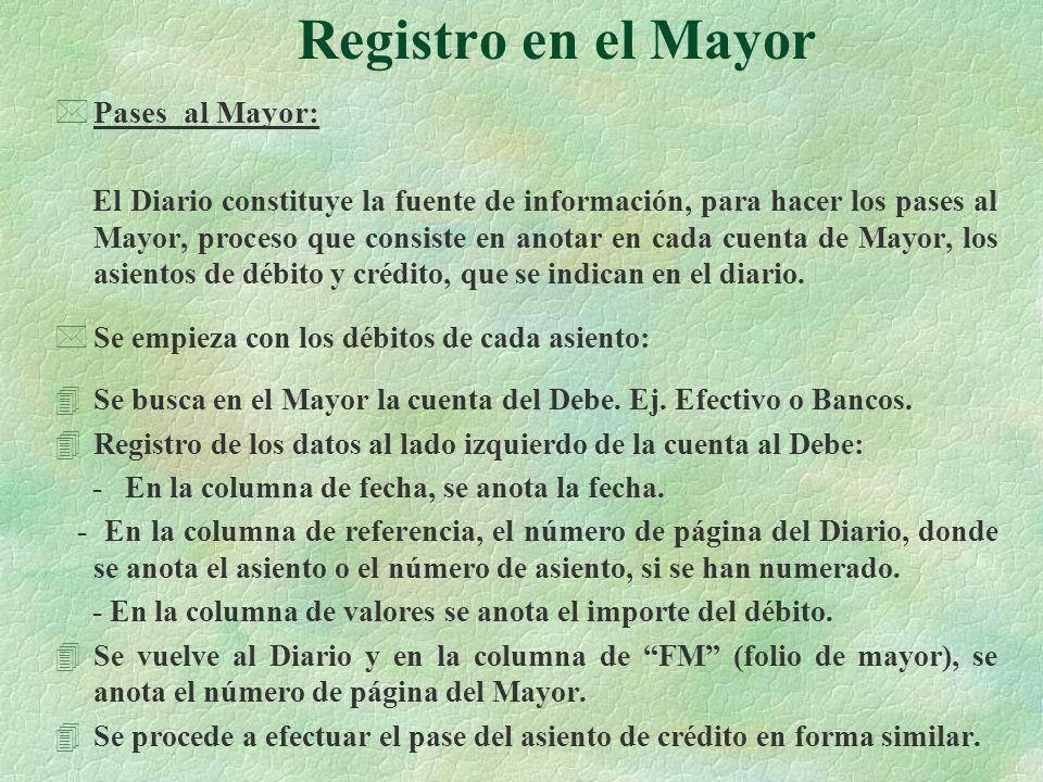Registro en el Mayor Pases al Mayor:
