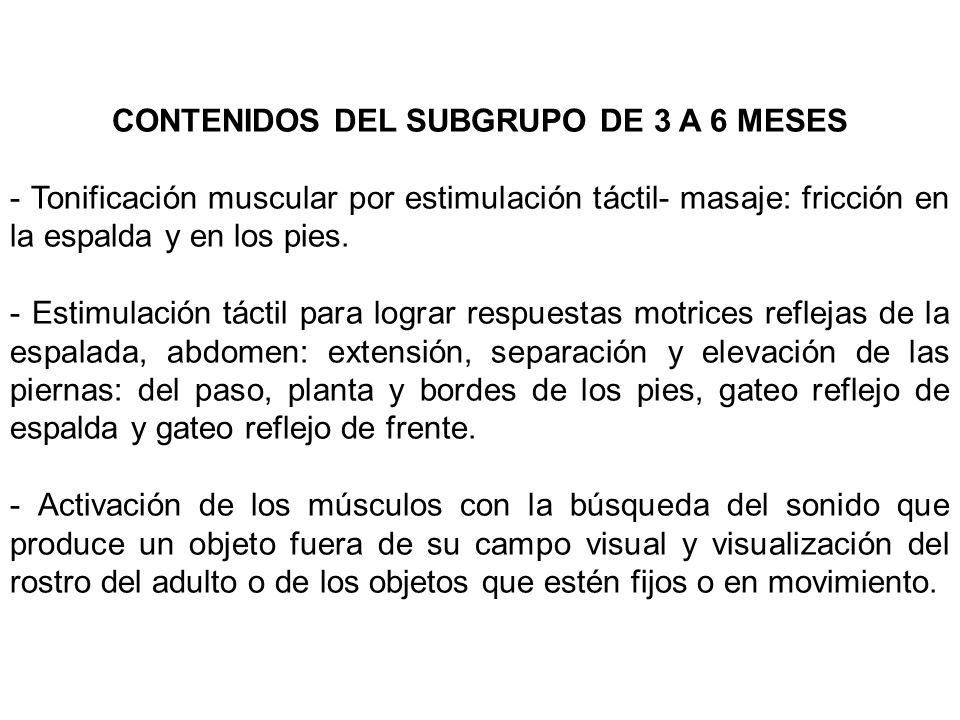 CONTENIDOS DEL SUBGRUPO DE 3 A 6 MESES