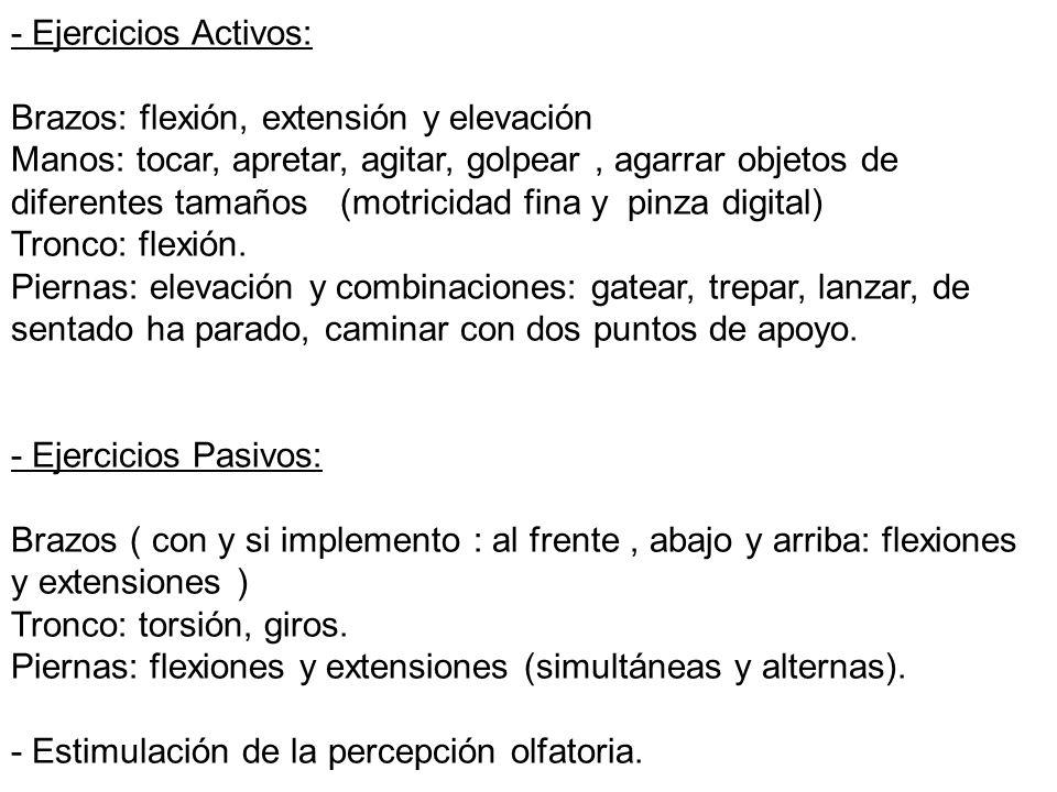 - Ejercicios Activos: Brazos: flexión, extensión y elevación.