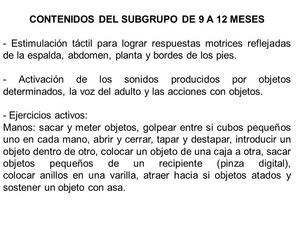 CONTENIDOS DEL SUBGRUPO DE 9 A 12 MESES