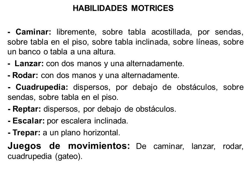 Juegos de movimientos: De caminar, lanzar, rodar, cuadrupedia (gateo).