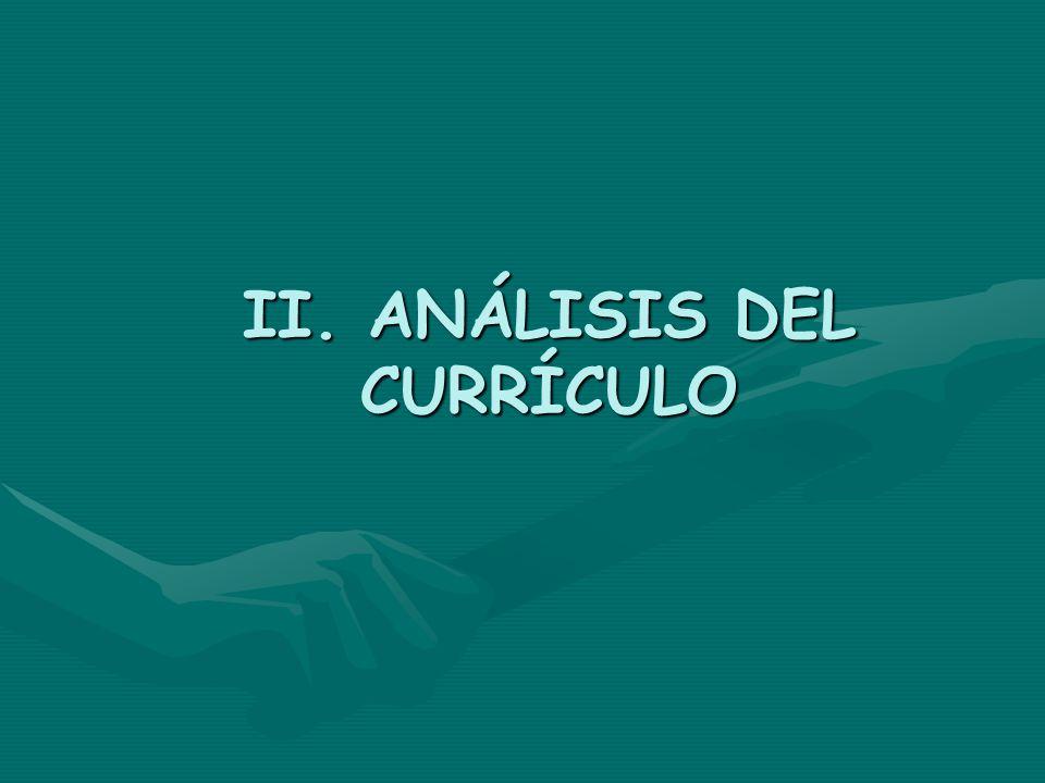 II. ANÁLISIS DEL CURRÍCULO