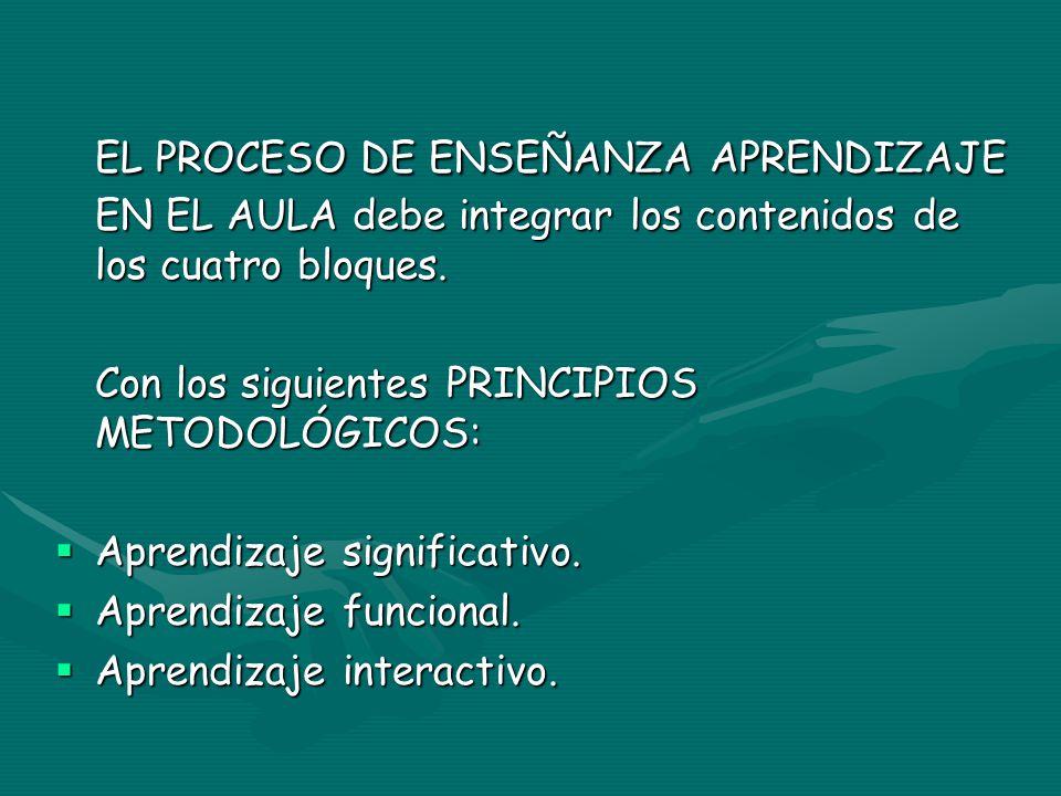 EL PROCESO DE ENSEÑANZA APRENDIZAJE EN EL AULA debe integrar los contenidos de los cuatro bloques.
