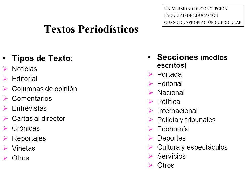 Textos Periodísticos Tipos de Texto: Secciones (medios escritos)