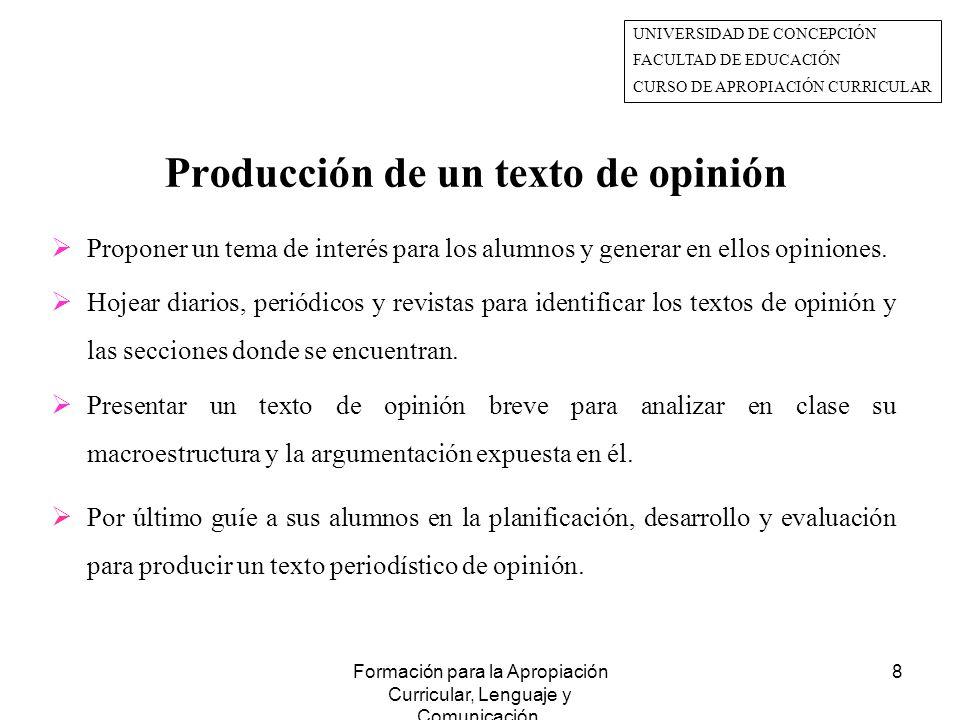 Producción de un texto de opinión