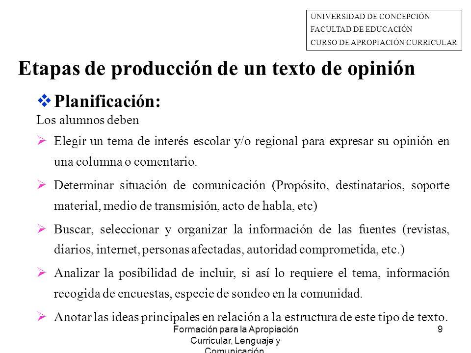 Etapas de producción de un texto de opinión