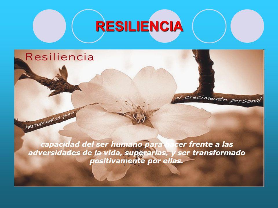 RESILIENCIA capacidad del ser humano para hacer frente a las adversidades de la vida, superarlas, y ser transformado positivamente por ellas.