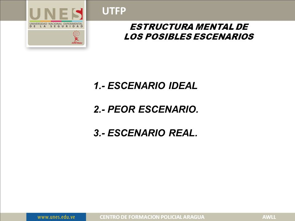 UTFP 1.- ESCENARIO IDEAL 2.- PEOR ESCENARIO. 3.- ESCENARIO REAL.
