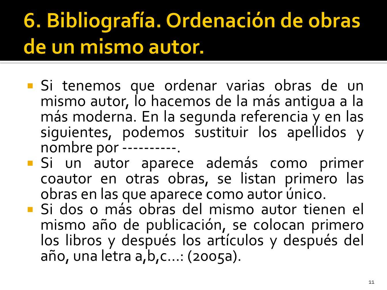 6. Bibliografía. Ordenación de obras de un mismo autor.
